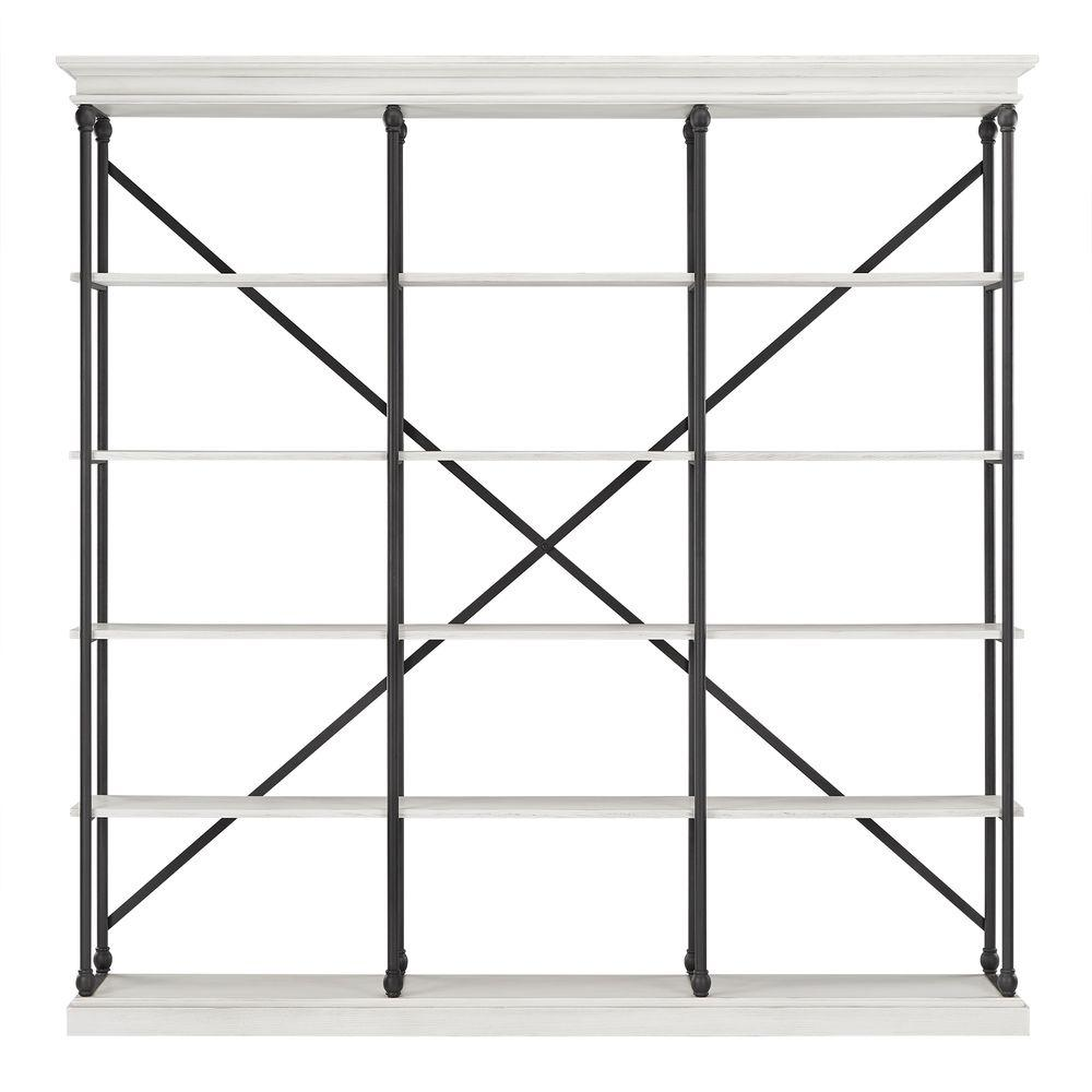 84 in. White Wash Metal 5-shelf Etagere Bookcase