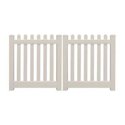 Plymouth 8 ft. W x 5 ft. H Tan Vinyl Picket Double Fence Gate Kit