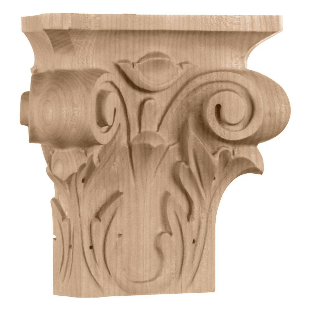 Ekena Millwork 2-1/2 in. x 6-1/4 in. x 6 in. Medium Square Onlay Acanthus Capital