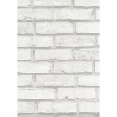 Brick White Wall Adhesive Film (Set of 2)