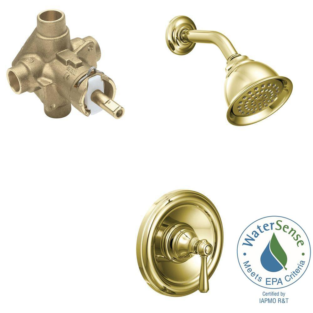 MOEN Kingsley 1-Handle 1-Spray PosiTemp Eco-Performance Shower Faucet Trim Kit with Valve in Polished Brass (Valve Included)