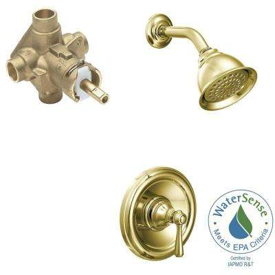 Kingsley 1-Handle 1-Spray PosiTemp Eco-Performance Shower Faucet Trim Kit with Valve in Polished Brass (Valve Included)