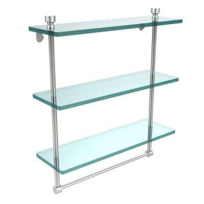 Foxtrot 16 in. L  x 18 in. H  x 5 in. W 3-Tier Clear Glass Bathroom Shelf with Towel Bar in Satin Chrome