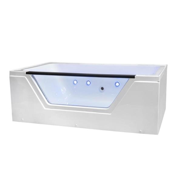 Fiji 66 in. L Acrylic with Left Drain Rectangular Alcove Infusion MicroBubble Air Bath Bathtub in White