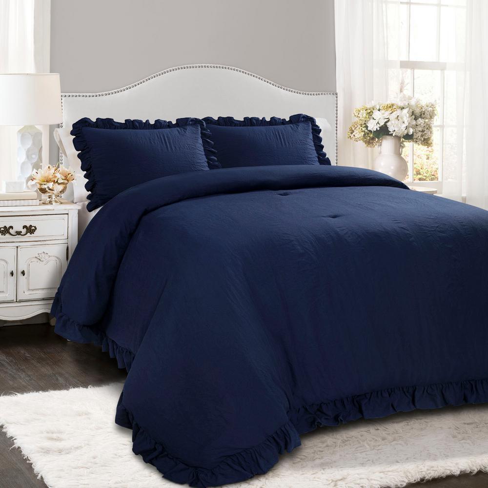 Reyna Comforter Navy 3-Piece King Set