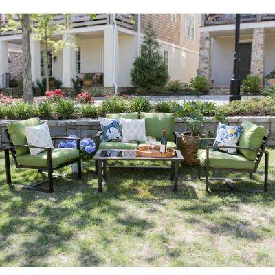 Jasper 4-Piece Aluminum Patio Conversation Set with Green Cushions