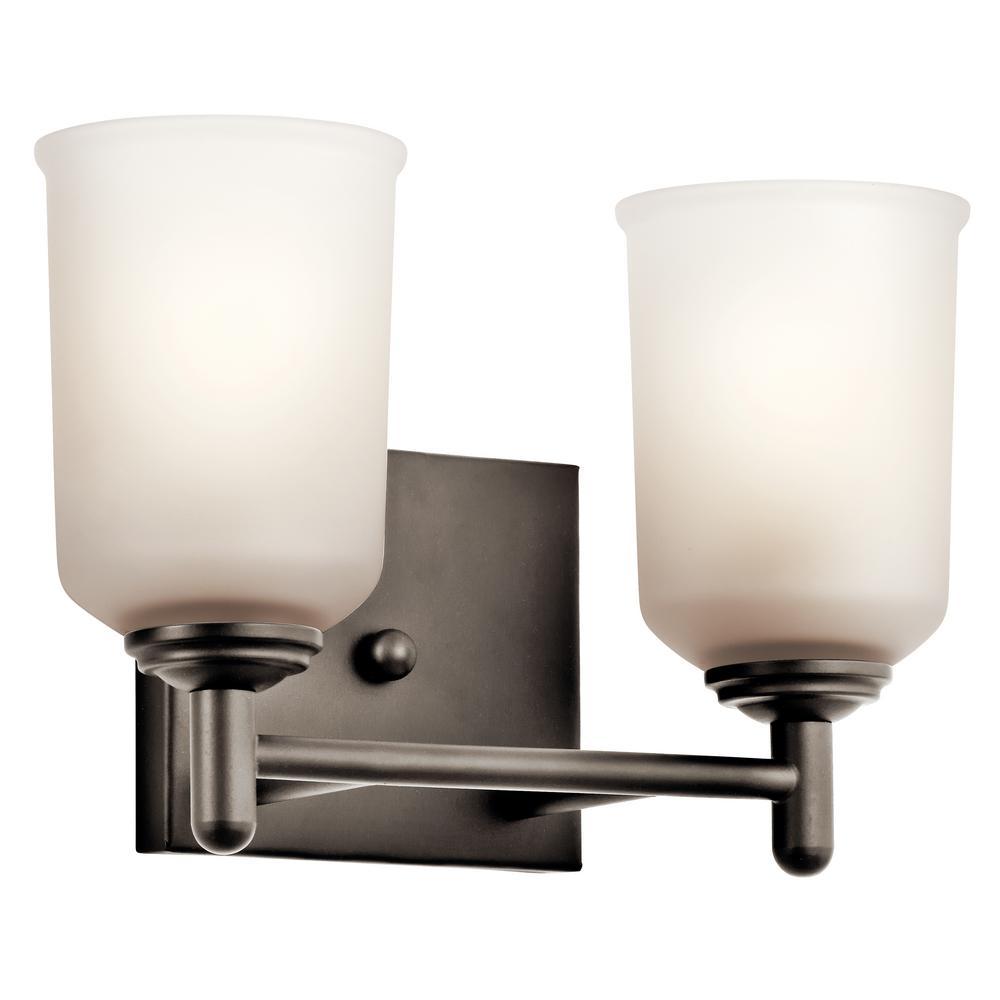 Shailene 2-Light Olde Bronze Vanity Light with Satin Etched Glass