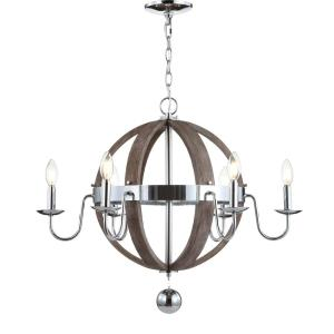 Georgia 28.5 in. 6-Light Antique Grey/Chrome Wood/Metal Adjustable LED Chandelier