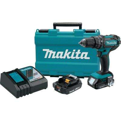 18-Volt Lithium-Ion 1/2 in. Compact Cordless Hammer Driver Drill Kit with (2) Batteries (2.0 Ah), Charger and Hard Case