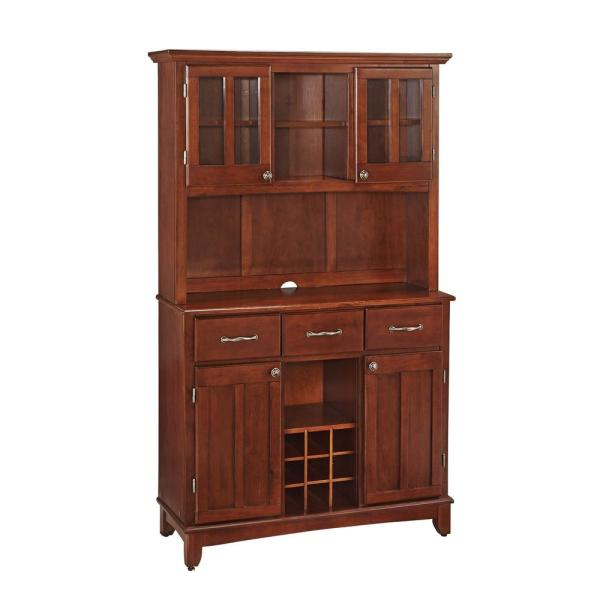 Home Styles Cherry And Stainless Steel Buffet With Hutch