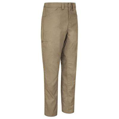 Men's 34 in. x 28 in. Khaki Lightweight Crew Pant