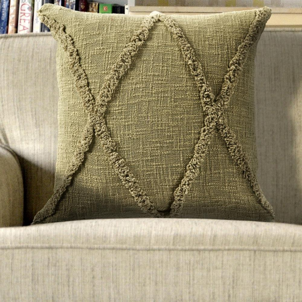 Carlton Olive Green Solid Hypoallergenic Polyester 20 in. x 20 in. Throw Pillow