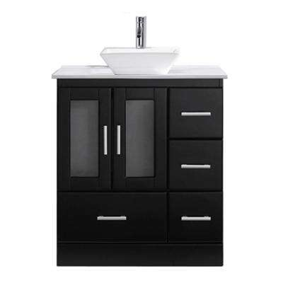 Zola 31 in. W Bath Vanity in Espresso with Stone Vanity Top in White Stone with Square Basin and Faucet
