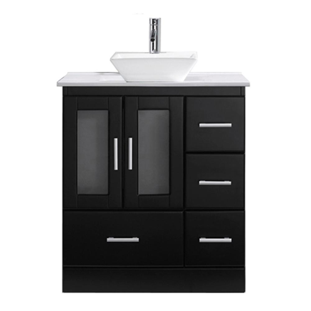 W Bath Vanity In Espresso With Stone Top White Square Basin And Faucet
