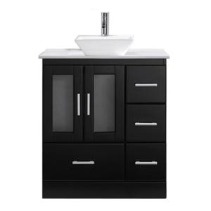 Virtu USA Zola 30 inch W x 19 inch D Vanity in Espresso with Stone Vanity Top in White with White Basin with Chrome... by Virtu USA