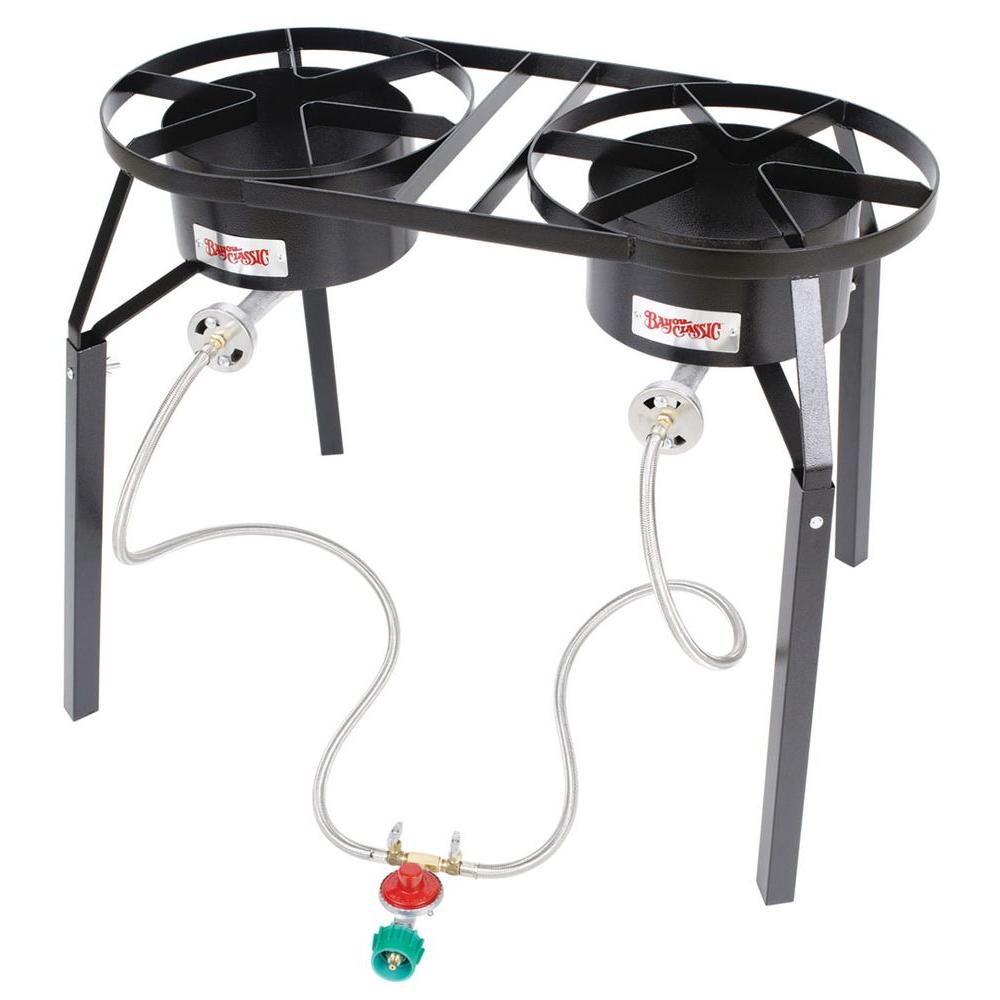 100,000 BTU Double-Burner High-Pressure Outdoor Cooker with Extension Legs