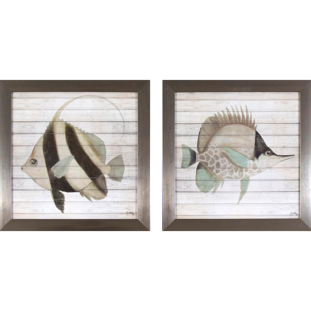 13.75 in. x 13.75 in. Rustic Fish Printed Framed Wall Art