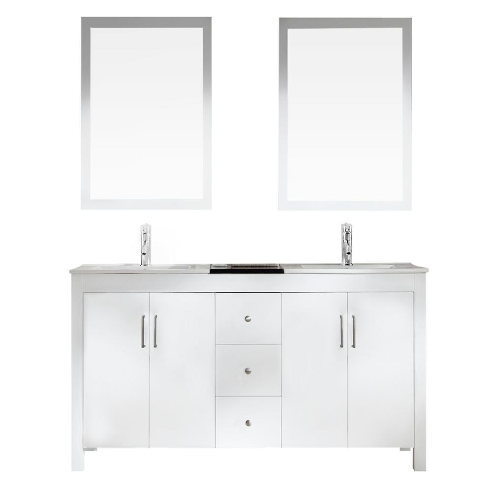 Ariel Hanson 60 in. Bath Vanity in White with Granite Vanity Top in ...