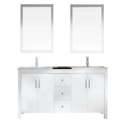 Hanson 60 in. Vanity in White with Granite Vanity Top in Black with White Basins and Mirrors