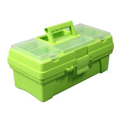 14 in. x 7.5 in. Tool Box Multi-Compartment Plastic with Tray in Green