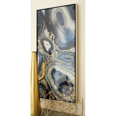 37 in. x 17 in. Blue, Black, Yellow and White Marbling Ripples Hand Painted Framed Canvas Wall Art