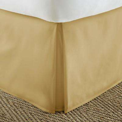 Pleated Dust Ruffle Gold Queen Performance Bed Skirt
