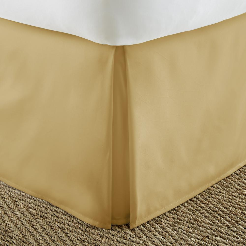 1 PIECE MICROFIBER SOLID BED RUFFLE SKIRT 14 INCH DROP SIZE KING DARK GOLD