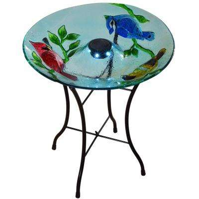 Outdoor 18 in. Glass Hand Painted Cardinals Fusion Solar Bird Bath with Stand