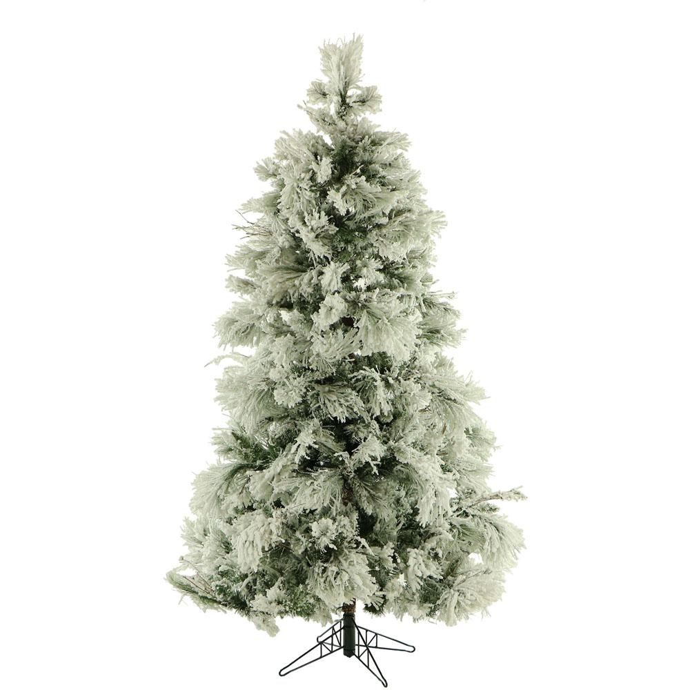Fraser Hill Farm 9 ft. Unlit Flocked Snowy Pine Artificial ...