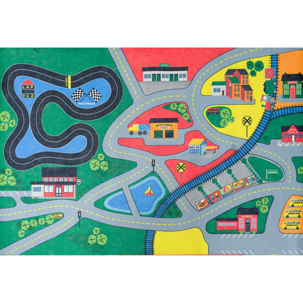 Town Life Multi Color Activity Rug Carpet Kids Children Play Area Traffic Cars