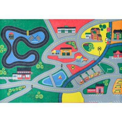 Town Life Multi 36 in. x 56 in. Kids Play Area Rug