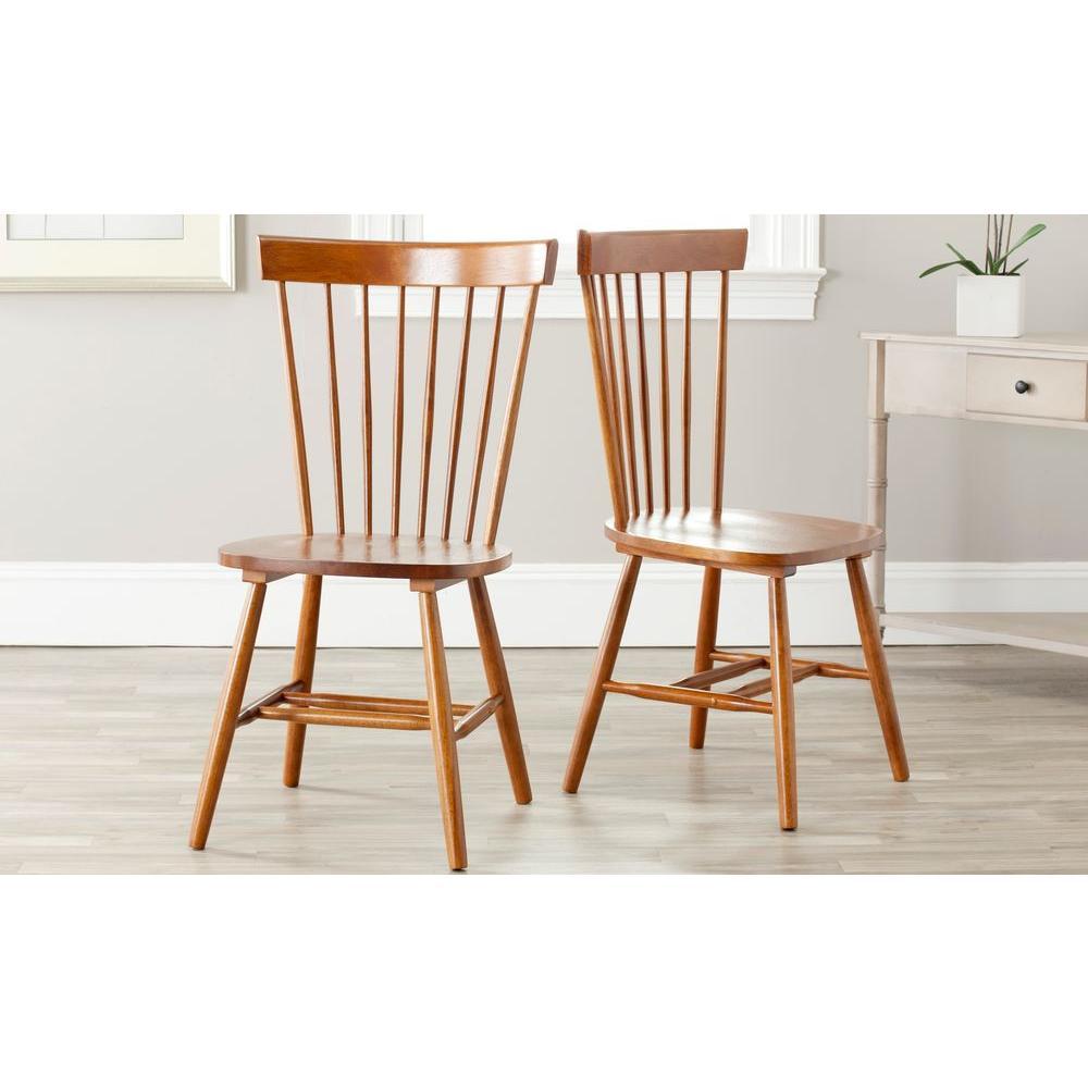 Safavieh Riley Light Brown Wood Dining Chair (Set of 2) AMH8500C-SET2