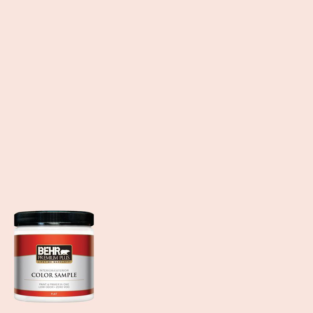 BEHR Premium Plus 8 oz. #180A-1 Cloud Pink Flat Interior/Exterior Paint and Primer in One Sample