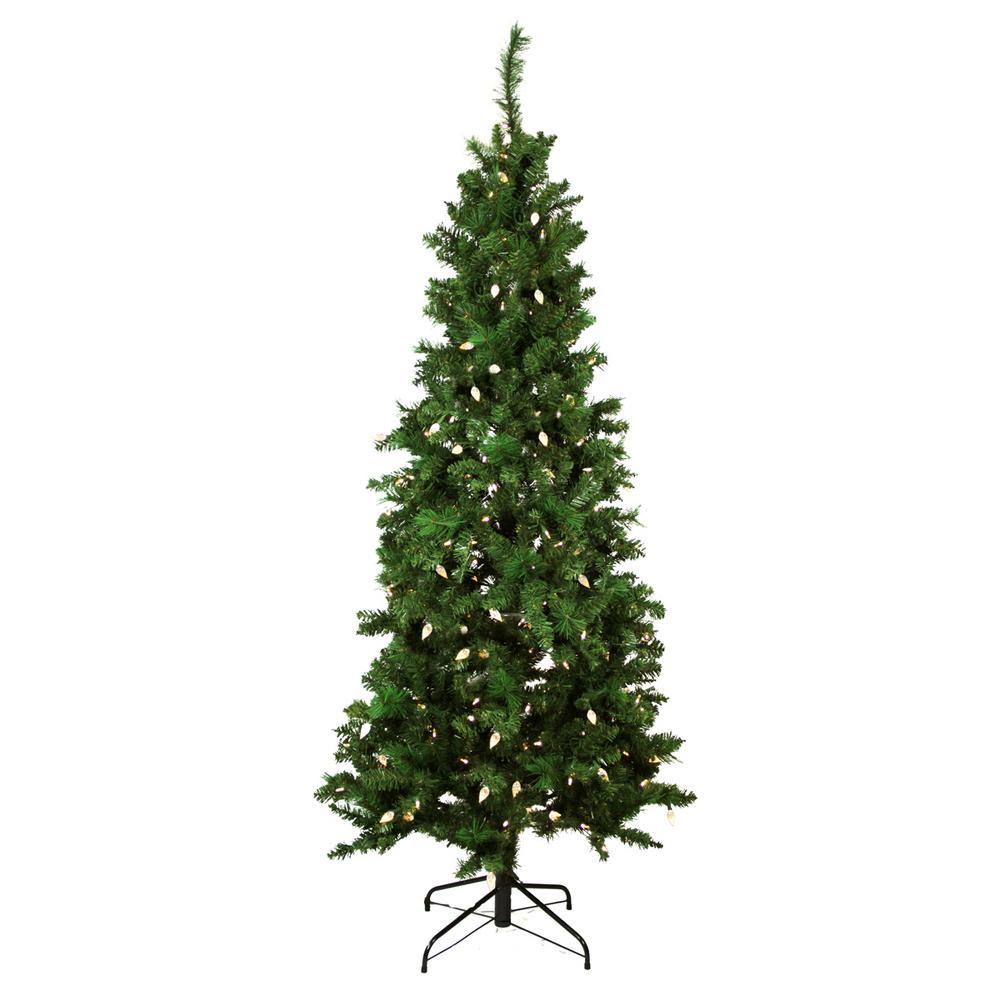 7 ft. Pre-Lit Single Plug Slim Mixed Long Needle Pine Artificial Christmas Tree Multi-Function LED Lights
