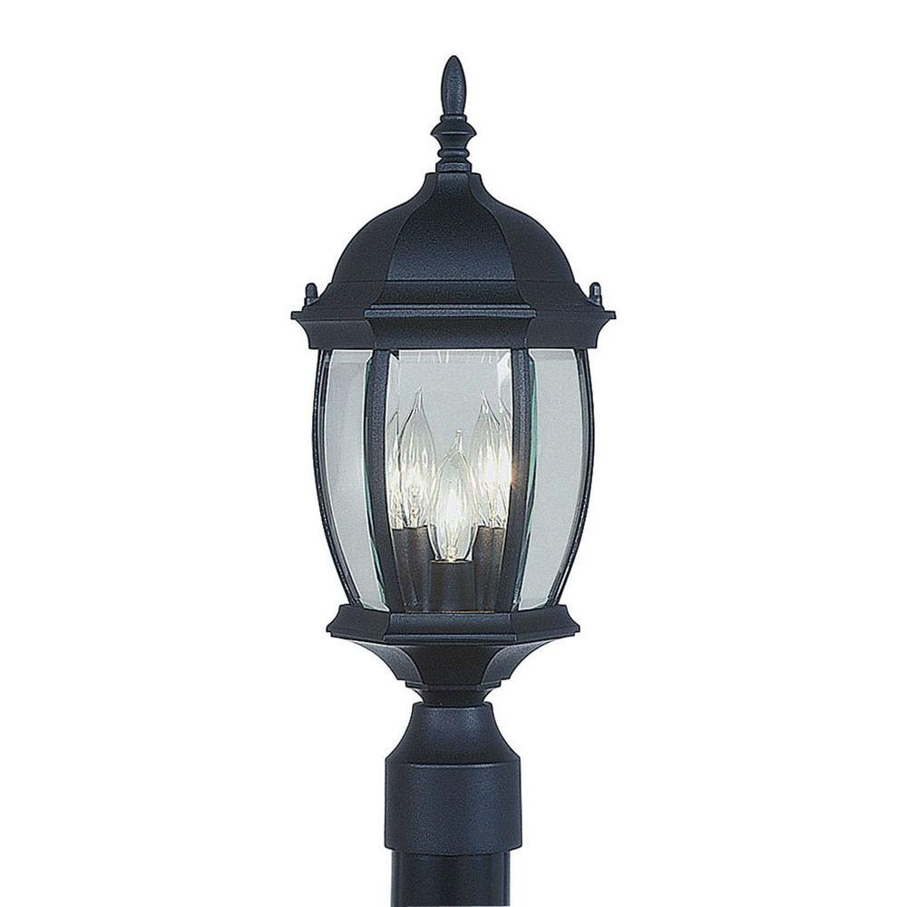 Livex Lighting 3-Light Outdoor Black Incandescent Post Lantern