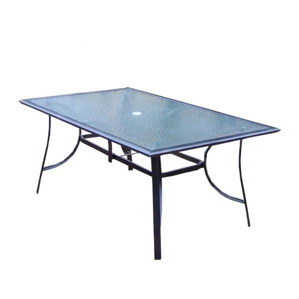 Modern Black Rectangular Aluminum Outdoor Patio Dining Glass Table