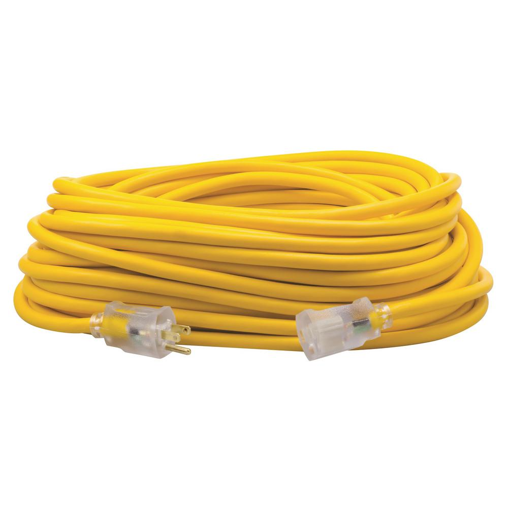 100 ft. 12/3 SJEOW Outdoor Heavy-Duty T-Prene Extension Cord with Power