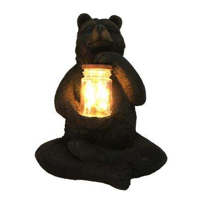 Bear Sitting with Fairy Light in Jar Garden Statue