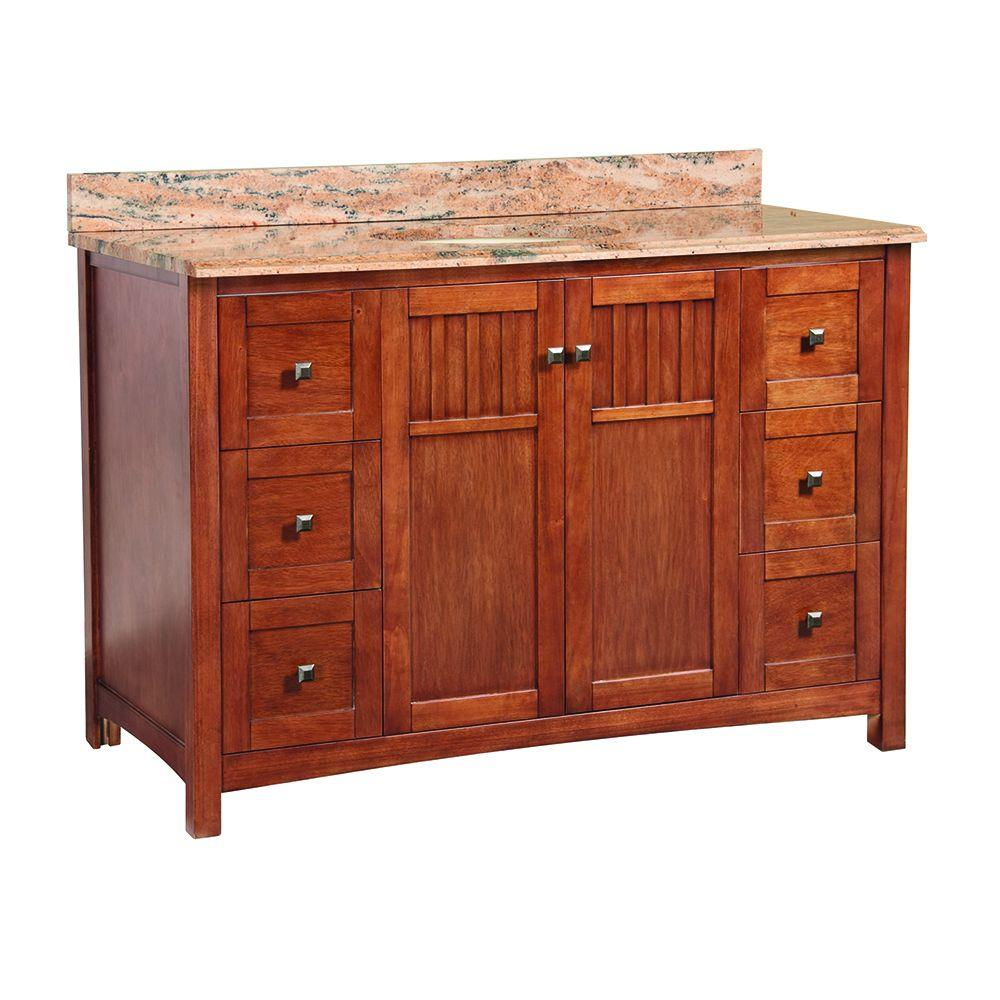 Home Decorators Collection Knoxville 49 in. x 22 in. D Vanity in Nutmeg with Vanity Top and Stone Effects in Bordeaux