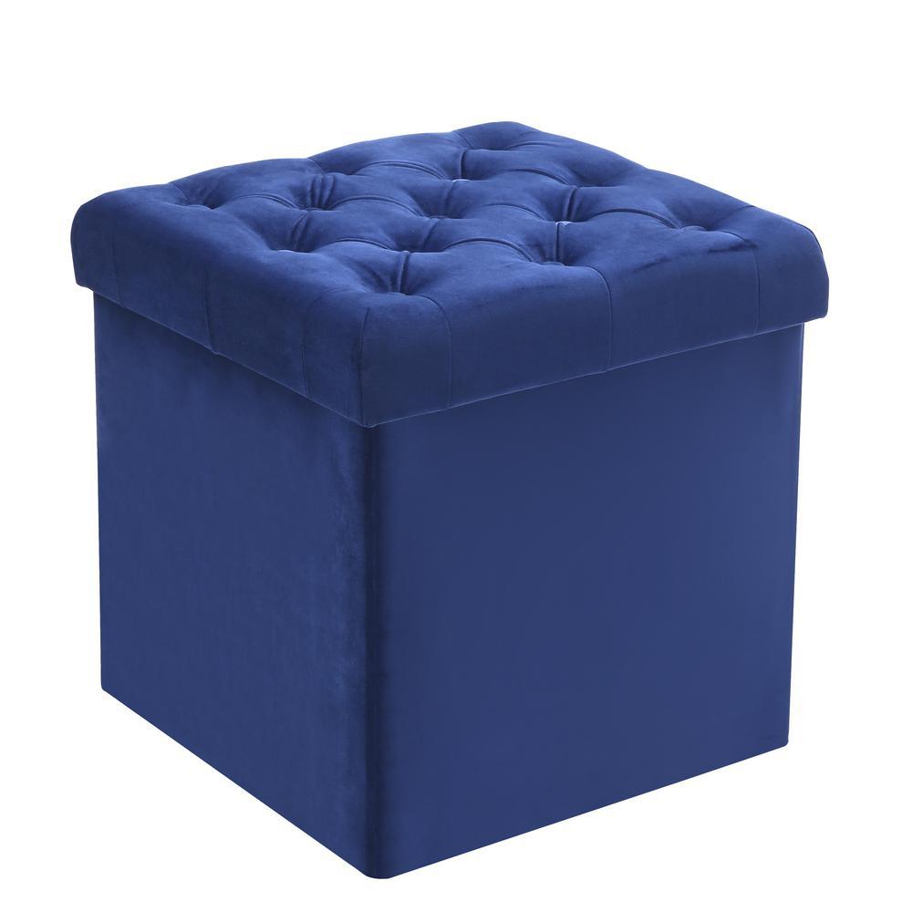Amazing Poly And Bark Lauren Velvet Blue Cube Storage Ottoman Hd 360 Ncnpc Chair Design For Home Ncnpcorg