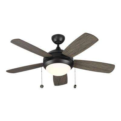 Discus Classic 44 in. Integrated LED Aged Pewter Ceiling Fan with Light Kit