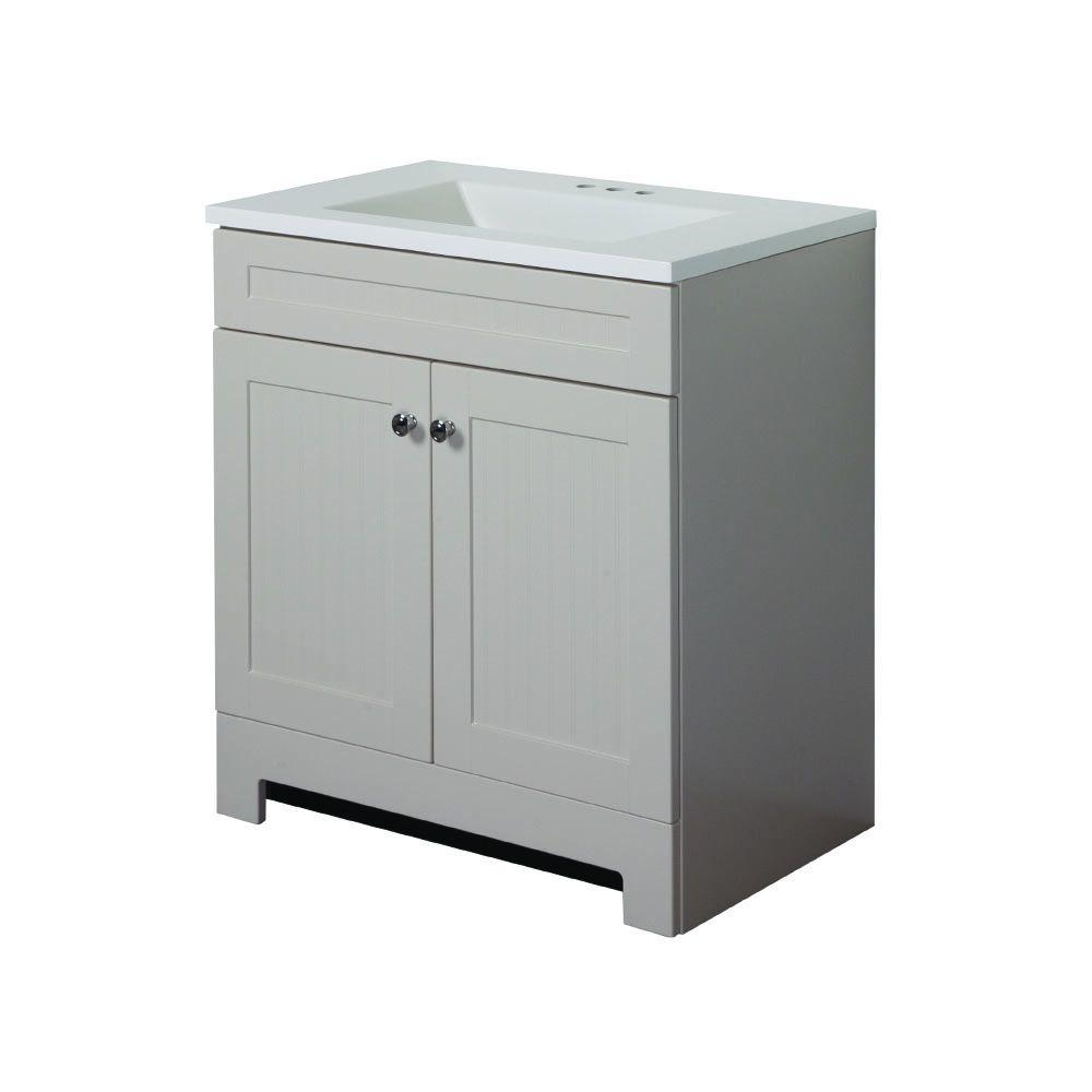 Glacier Bay Country 30 in. W Vanity in Linen with Cultured Marble Vanity Top in White