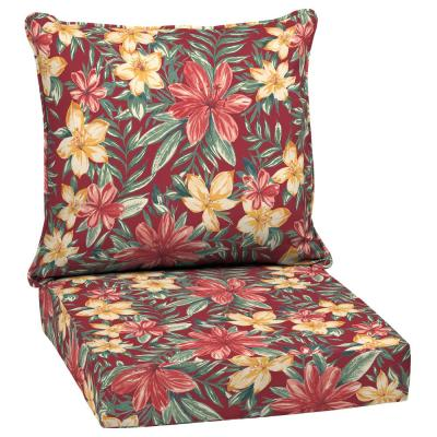 24 x 24 Ruby Clarissa Tropical 2-Piece Deep Seating Outdoor Lounge Chair Cushion