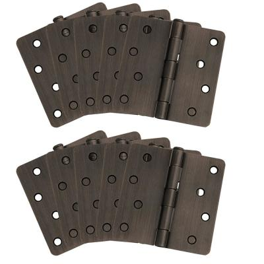 4 in. x 1/4 in. Radius Oil Rubbed Bronze Door Hinge Value Pack (10 per Pack)
