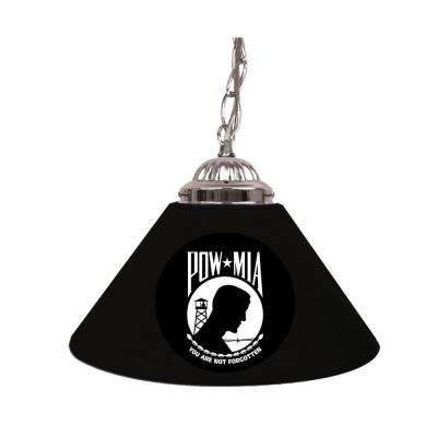 POW 14 in. Single Shade Black Hanging Lamp