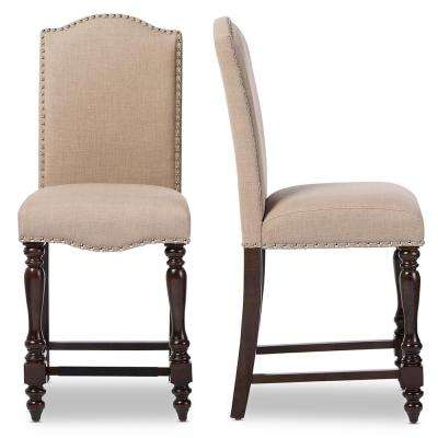 Zachary Beige Fabric Upholstered 2-Piece Counter Stool Set