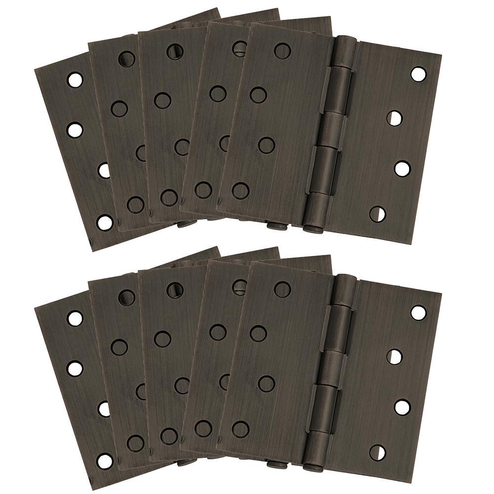 4 in. Square Corner Oil Rubbed Bronze Door Hinge Value Pack (10 per Pack)