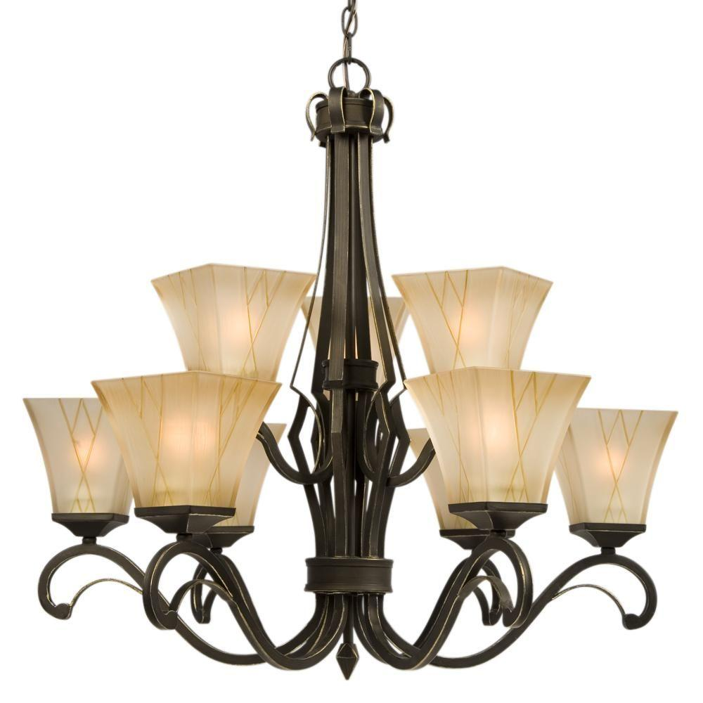 Negron 9-Light Oil-Rubbed Bronze with Gold Incandescent Chandelier
