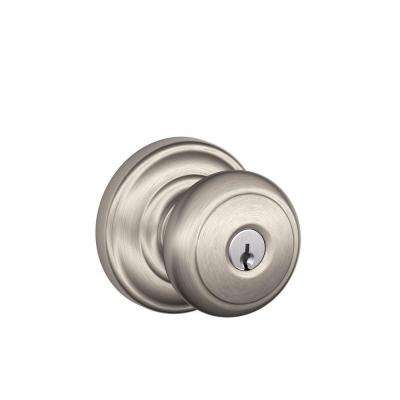Andover Satin Nickel Keyed Entry Door Knob