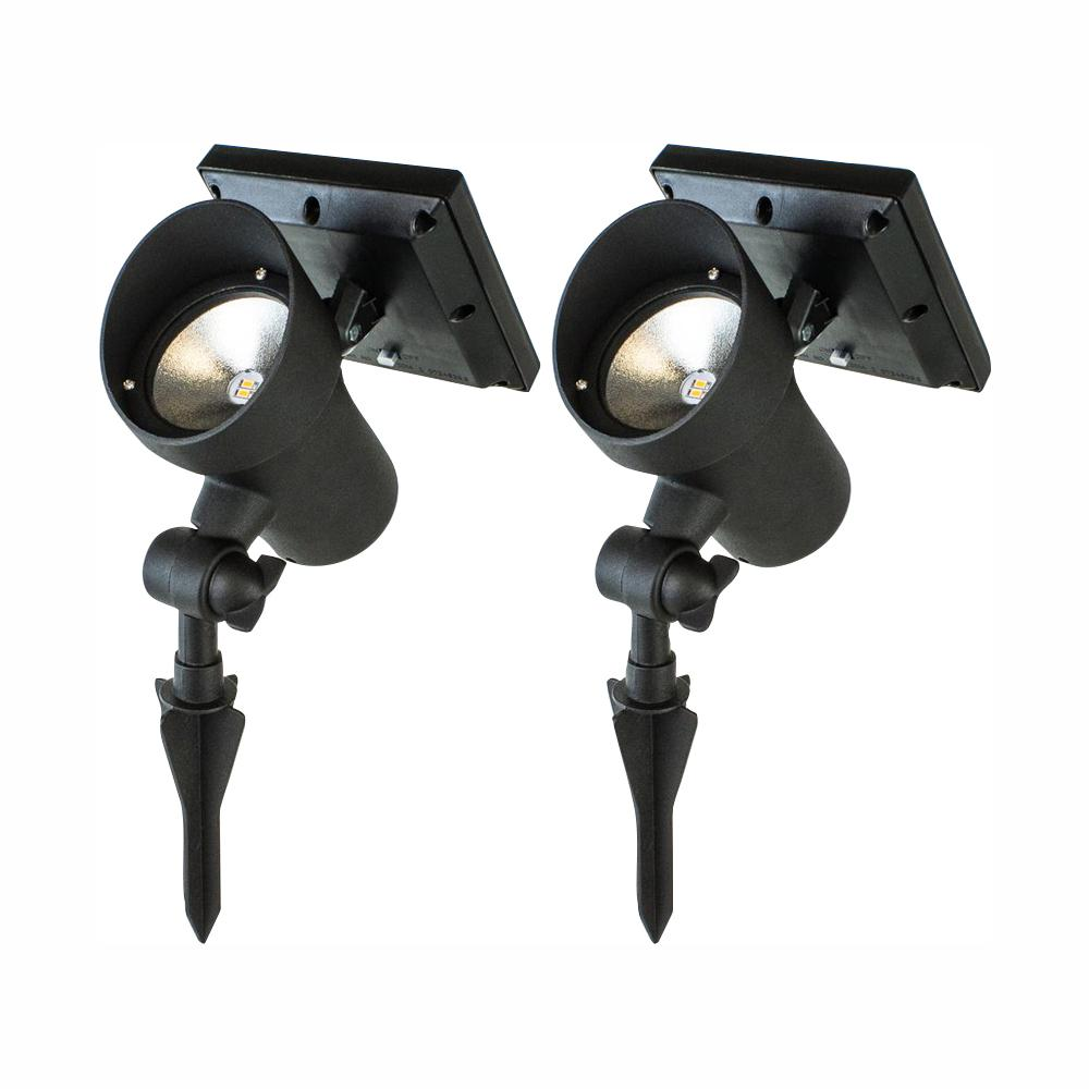 Adamax ADAMAX High Lumen Metal Solar Black Outdoor Integrated LED Landscape Spot Light (2-Pack)